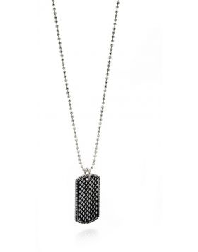 Oxidised Textured Pendant Necklace
