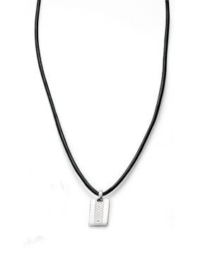 N4013 DIA BROWN Leather Dog Tag NECK