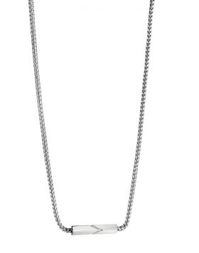 Etched Bar with Curb Chain Necklace
