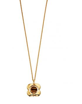 Yellow Gold Plated Rotating Flower Inlay Pendant