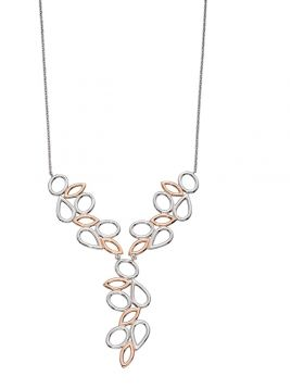 Rose Gold Plated Silver Contrast Shape Necklace