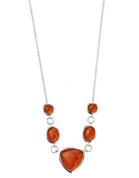 N4112R AMBER Multi Shape NECKLACE