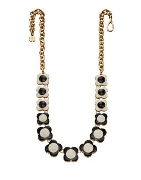 Cream and Black Flower Necklace