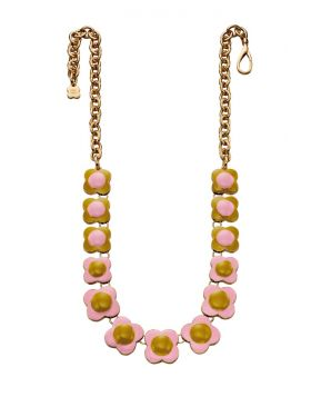 Pink and Green Flower Necklace