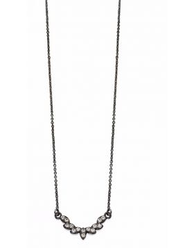 Delicate Gunmetal and Crystal Necklace