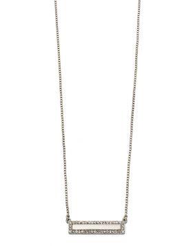 Imitation Rhodium Crystal Bar Necklace