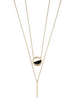 Imitation Gold and Black Inlay Double Layer Necklace