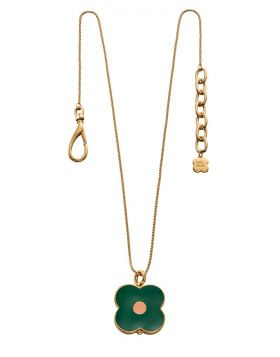 Yellow Gold Abacus Flower Short Pendant