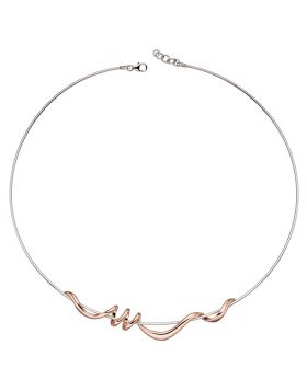 Rose Gold Twist Detail and Silver Torque Necklace
