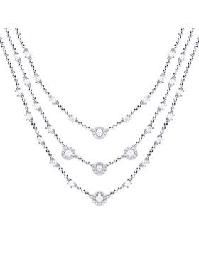 Multi-strand 925 silver cocktail necklace with 31 individual claw set white zirconia stones