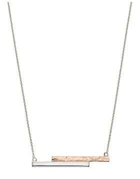 Rose gold and silver hammer effect bar necklace