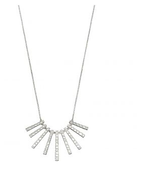 Frosted Finish Bar Drop Necklace
