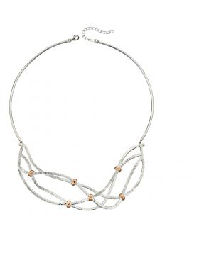 Statement Hammered Necklace with Rose Gold Ring Details
