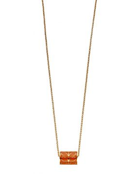 Yellow Gold Plated And Orange Enamel Stem Cylinder Necklace