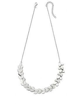 Silver Overlapping Leaf Necklace