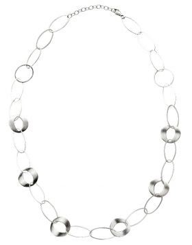 Multi-Link Long Silver Necklace