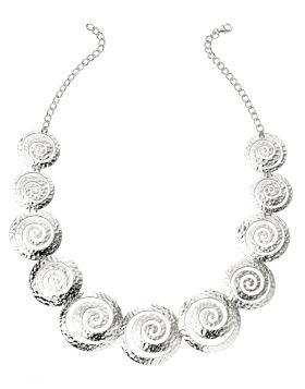 Multi Swirl Textured Disc Necklace