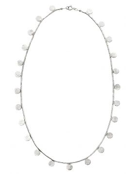 Textured Disc and Bugle Bead Necklace