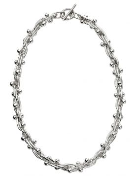 Mexican Style Ball and Bar Silver Necklace