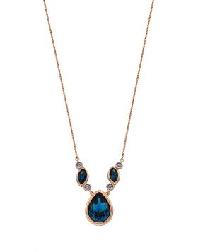 Multi Stone Blue Crystal Necklace (N4367L)