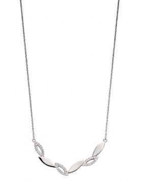 Navette Zigzag Necklace With CZ (N4369C)
