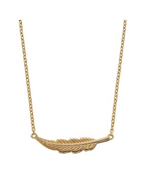 Yellow Gold Plated Feather Necklace (N4458)