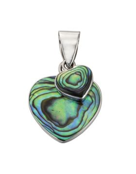 P4275S PAUA SHELL Double heart PNDNT