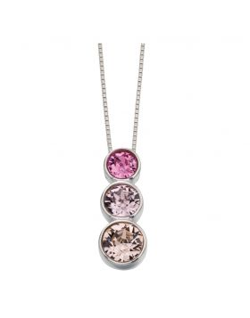 P4279 Triple Circle Crystal Pendant in Tonal Pinks