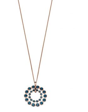 Double Row Circle Pendant in Rose Gold with Montana Blue Crystals P4555L