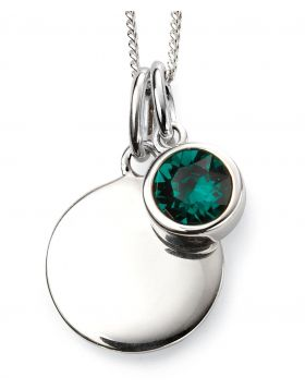 May Birthstone and Engravable Disc Necklace