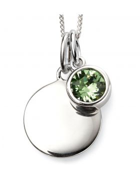 August Birthstone and Engravable Disc Necklace
