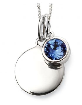 September Birthstone and Engravable Disc Necklace