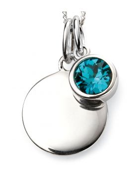 Decembe Birthstone and Engravable Disc Necklace