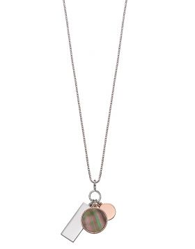 Rose gold plated multi piece pendant with mother of pearl