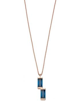Rose gold open side blue baguette pendant