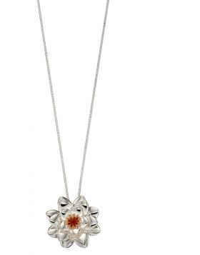 Silver and Rose Gold Chrysanthemum Flower Pendant