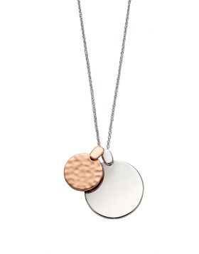 Textured Rose Gold and Silver Disc Pendant