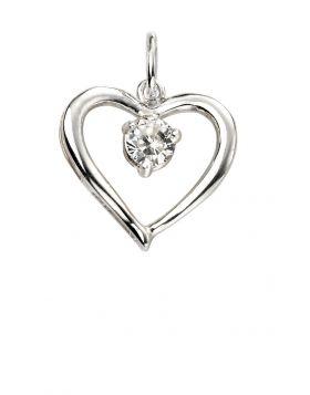 Open Heart Cubic Zirconia Pendant