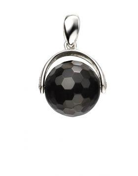 Black Chalcedony Spinning Ball Pendant