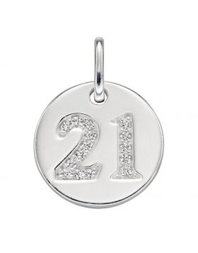 Cubic Zirconia '21' Disc Pendant (P4829C)