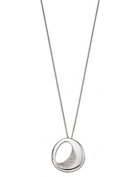Sculped Organic Silver Pendant With CZ (P4851C)