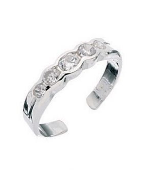 R128C CLR CRYSTAL 5 Setting TOE RING