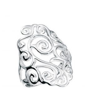 Silver Diamond Shape Filigree Ring