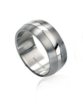 R2510 S/S Brushed & Polshd Band RING