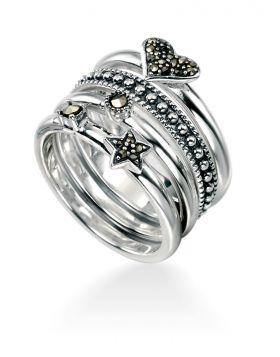 Marcasite Heart/Star/Dot 4 Stacking Ring