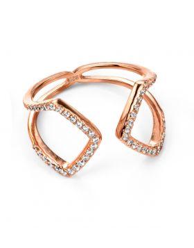 Rose Gold Cubic Zirconia Open Loop Ring