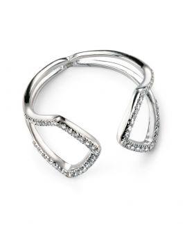 Rhodium Plated Cubic Zirconia Open Ring