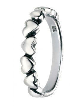 Oxidised Multi Heart Ring