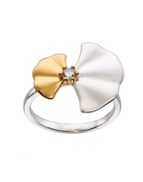 Silver and Yellow Gold Plated Ginkgo Leaf Ring
