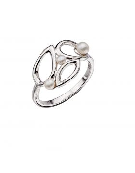 Silver Pearl Contrast Shape Ring